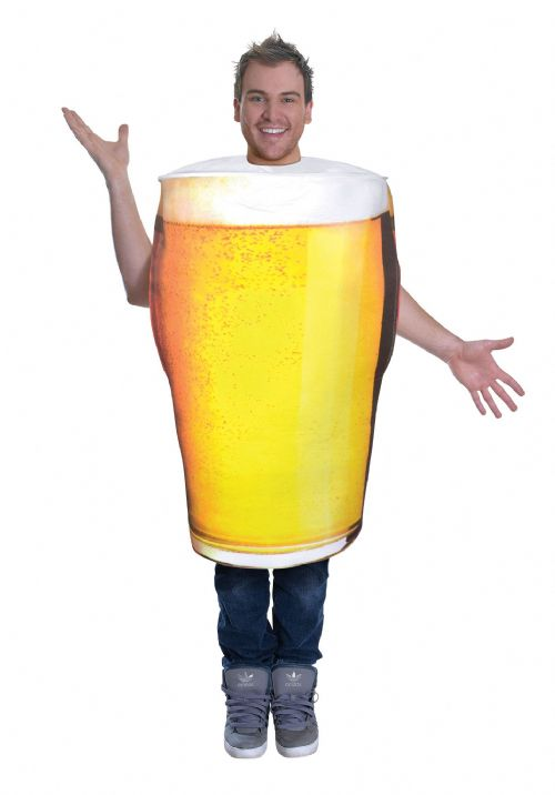 Adults Pint of Beer Costume Alcohol Pub Drink Fancy Dress Outfit